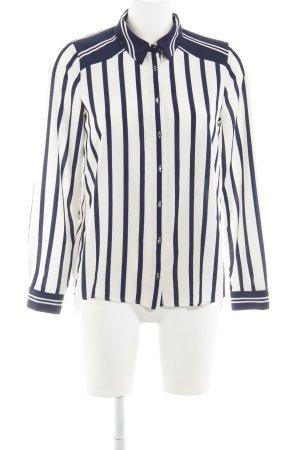 Zara Basic Hemd-Bluse weiß-dunkelblau Streifenmuster Metallelemente
