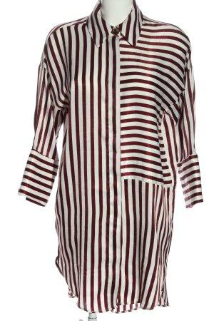 Zara Basic Hemdblusenkleid weiß-rot Allover-Druck Casual-Look