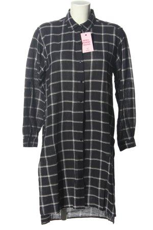 Zara Basic Hemdblusenkleid schwarz-weiß Karomuster Casual-Look