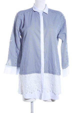 Zara Basic Vestido tipo blusón azul-blanco estampado a rayas