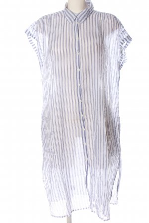 Zara Basic Hemdblusenkleid weiß-lila Streifenmuster Casual-Look