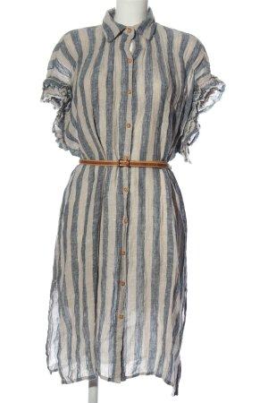 Zara Basic Hemdblousejurk wit-blauw volledige print casual uitstraling