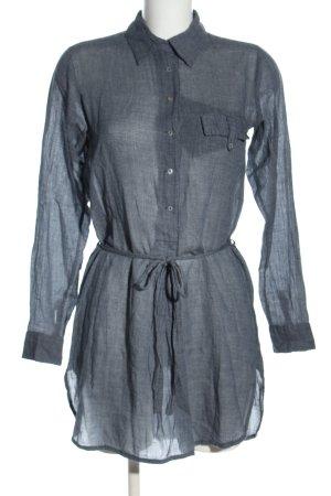 Zara Basic Hemdblusenkleid hellgrau Webmuster Casual-Look
