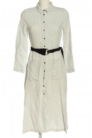 Zara Basic Hemdblusenkleid wollweiß-braun Streifenmuster Casual-Look