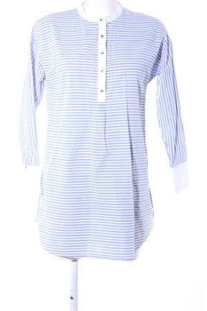 Zara Basic Vestido tipo blusón blanco-azul estampado a rayas look casual