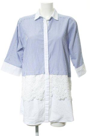 Zara Basic Shirtwaist dress white-dark blue striped pattern casual look