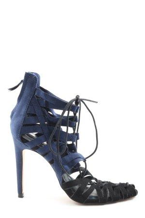 Zara Basic High Heel Sandaletten blau-schwarz Casual-Look