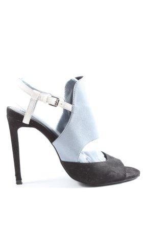 Zara Basic High Heel Sandaletten schwarz-hellgrau Casual-Look