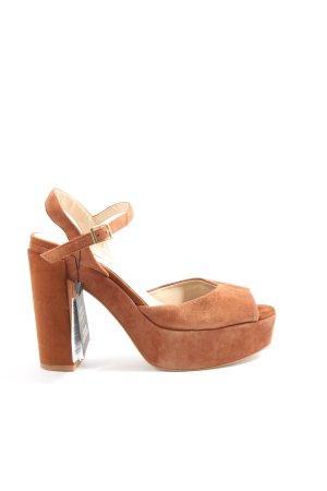 Zara Basic High Heel Sandaletten braun Elegant