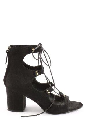 Zara Basic High Heel Sandaletten schwarz-goldfarben Casual-Look