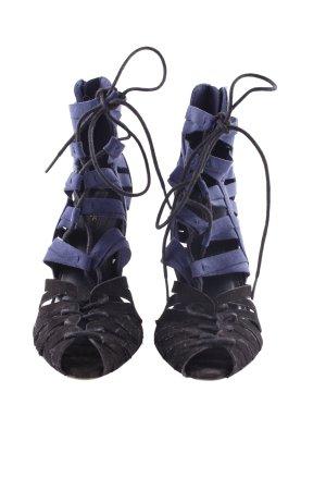 Zara Basic High Heel Sandaletten dunkelblau-schwarz Elegant