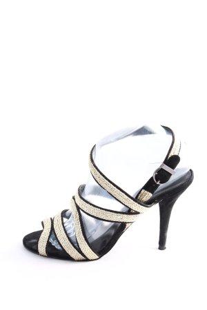 Zara Basic High Heels schwarz-creme Casual-Look