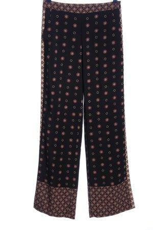 Zara Basic High-Waist Hose schwarz-braun Blumenmuster Casual-Look