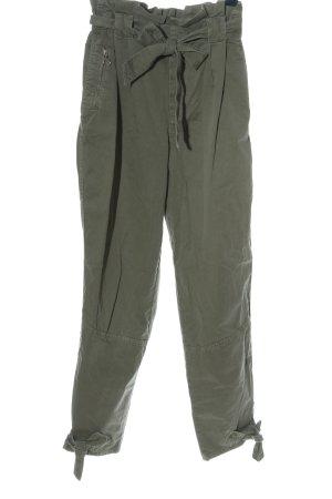 Zara Basic Pantalón de cintura alta caqui look casual