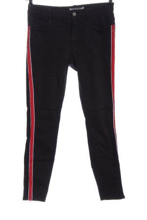 Zara Basic High Waist Jeans schwarz-rot Casual-Look