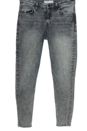 Zara Basic High Waist Jeans blau-weiß Casual-Look