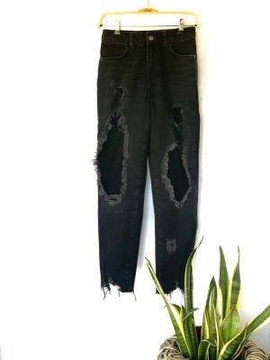 Zara Basic High Waist Jeans schwarz-dunkelgrau Casual-Look