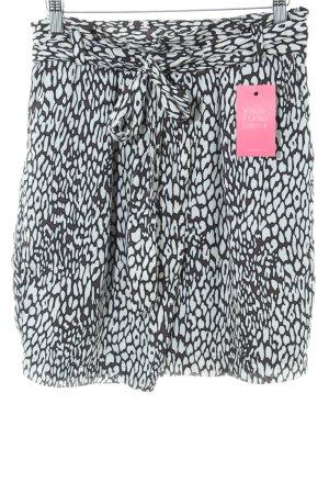 Zara Basic High Waist Rock weiß-schwarz Allover-Druck Casual-Look