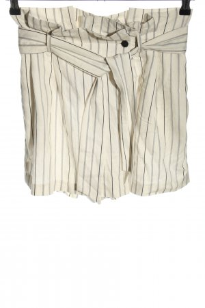 Zara Basic High-Waist-Shorts creme-schwarz Allover-Druck Casual-Look