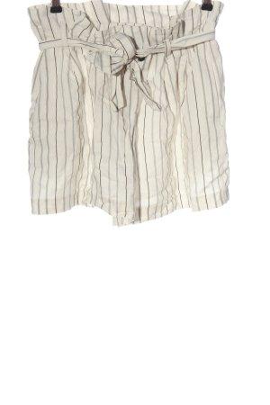Zara Basic Szorty z wysokim stanem w kolorze białej wełny-czarny Wzór w paski