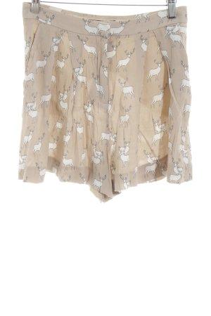 Zara Basic High-Waist-Shorts creme-weiß Allover-Druck Casual-Look