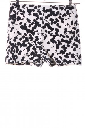 Zara Basic High-Waist-Shorts weiß-schwarz abstraktes Muster Casual-Look