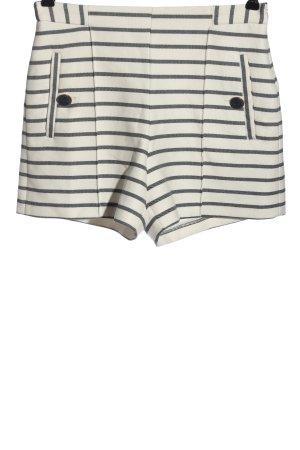 Zara Basic High-Waist-Shorts weiß-schwarz Streifenmuster Casual-Look