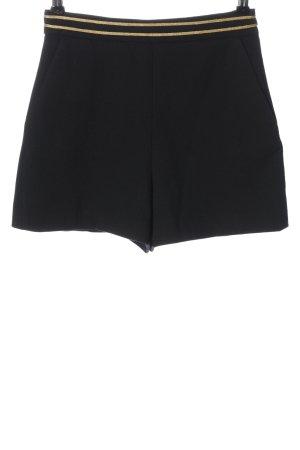 Zara Basic High-Waist-Shorts schwarz-goldfarben Streifenmuster Casual-Look