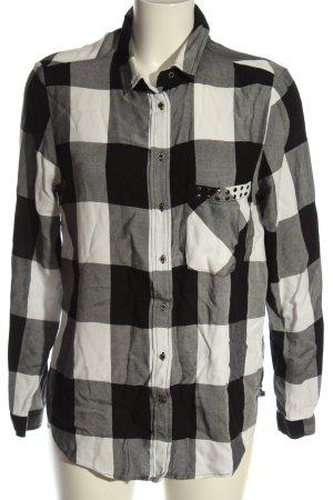 Zara Basic Camisa de leñador negro-blanco estampado a cuadros look casual