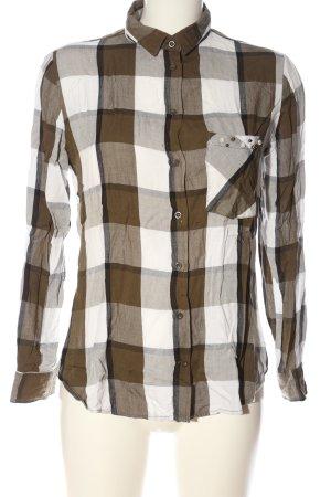 Zara Basic Holzfällerhemd braun-wollweiß Karomuster Casual-Look
