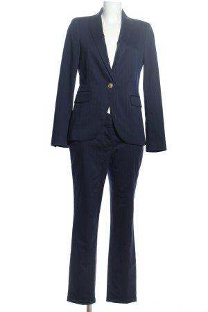 Zara Basic Hosenanzug blau Streifenmuster Business-Look