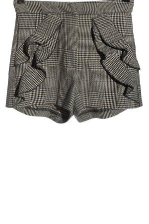 Zara Basic Krótkie szorty czarny-biały Na całej powierzchni Elegancki