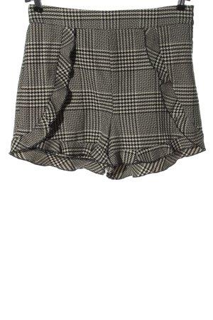 Zara Basic Hot pants zwart-wolwit geruite print casual uitstraling