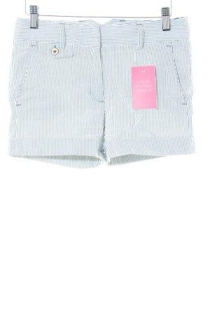 Zara Basic Hot Pants blue-white striped pattern casual look