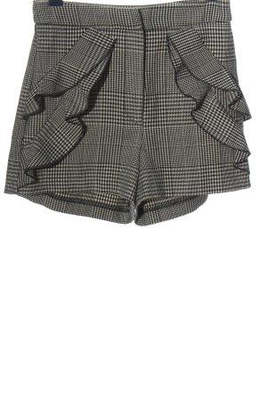 Zara Basic Hot Pants weiß-schwarz Allover-Druck Casual-Look