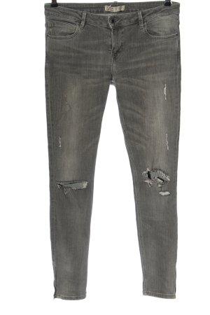 Zara Basic Jeansy biodrówki jasnoszary W stylu casual