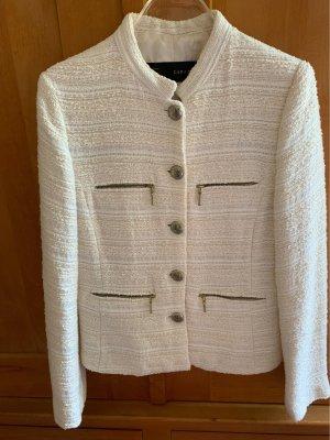 Zara Basic Tweed Blazer cream-natural white cotton