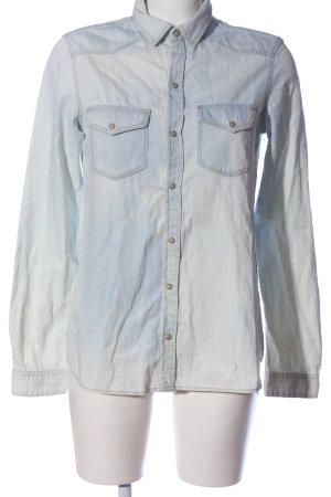 Zara Basic Jeansbluse blau Casual-Look