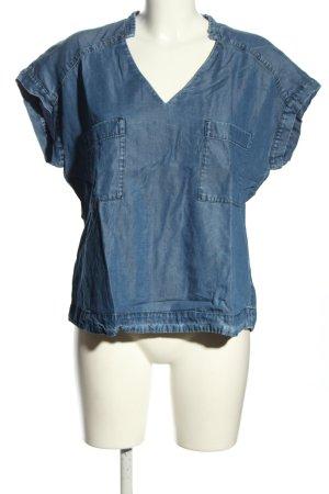 Zara Basic Blouse en jean bleu style décontracté