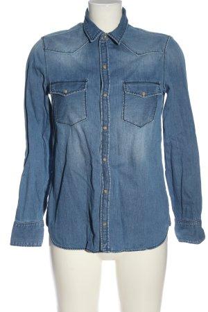 Zara Basic Jeansowa koszula niebieski W stylu casual