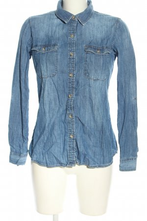 Zara Basic Jeanshemd blau Casual-Look
