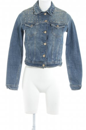 Zara Basic Jeansjacke stahlblau Washed-Optik