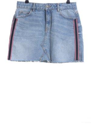 Zara Basic Spijkerrok blauw-rood gestreept patroon casual uitstraling