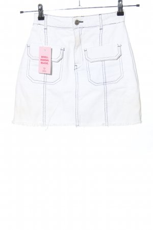 Zara Basic Jeansrock weiß Casual-Look