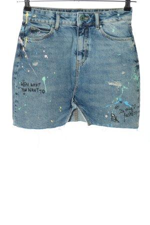 Zara Basic Jeansrock blau Schriftzug gedruckt Casual-Look