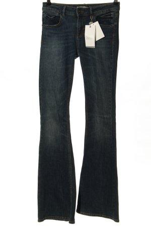 Zara Basic Jeansschlaghose blau Casual-Look