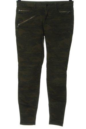 Zara Basic Slim Jeans khaki-braun Camouflagemuster Casual-Look