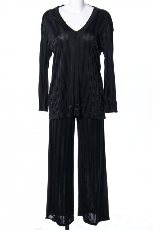 Zara Basic Twin set in jersey nero motivo a righe stile casual