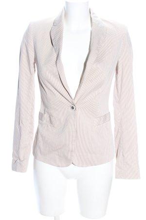 Zara Basic Jerseyblazer creme Streifenmuster Casual-Look