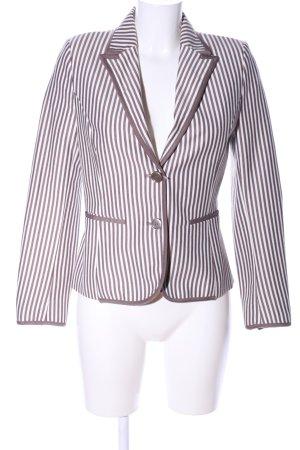 Zara Basic Jerseyblazer braun-weiß Streifenmuster Casual-Look